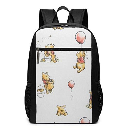 Reise Laptop Rucksack, Winnie The Pooh Reise wasserfeste Büchertasche passt unter 17 Zoll Laptop Schultasche für Mann Frauen