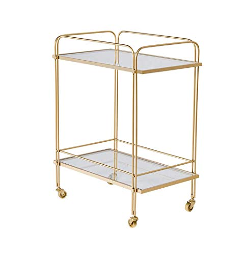 GAXQFEI Foyer Rack Golden Trolley,On Wheels with Handrails Rolling Serving Cart Hotel Bedroom Living Room Coffee Shop 2-Layer Glass Shelf for Storage,a,61 * 38.5 * 76Cm