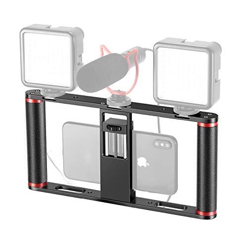 Neewer Smartphone Video Rig Stabilisator Griff aus Aluminiumlegierung mit 3 Kaltschuh Halterungen fur Videoersteller Kompatibel mit iPhone 11 Pro Max11 Pro11Xs MaxXsXr8 Google Samsung