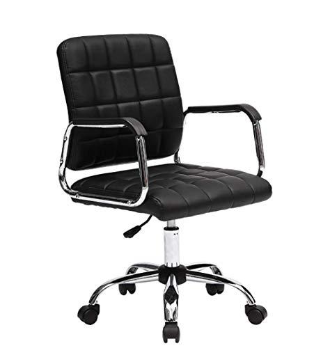 Executive Stuhl Schwenkstuhl mit Chrombasis, Schaukelhöhe verstellbarer Bürostuhl, aus Kunstleder ergonomisch MISU