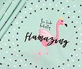 Panel Jersey Flamingo Love - mint Eigendruck BioBunt