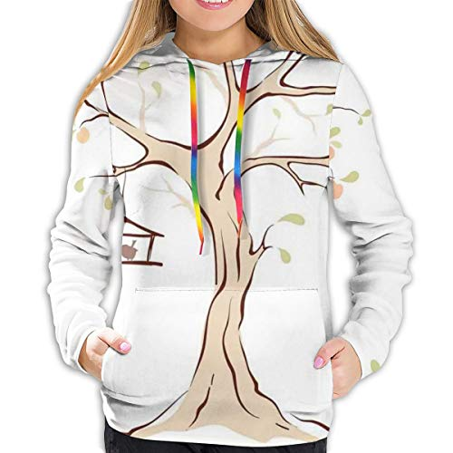 Women's Hoodies Tops,Mature Apple Tree with Fying Birds And The Nest Fruit Family Nature Food Image,Lady Fashion Casual Sweatshirt(XL)