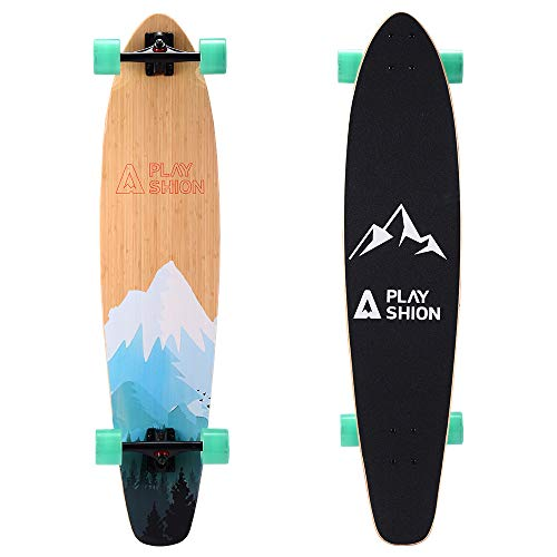 Playshion 42 inch Bamboo Longboard Skateboard Complete Cruiser Forest