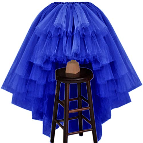 WDPL Women's Puffy Wedding High Low Layered Tulle Asymmetrical Night Out Skirt (Royal Blue, X-Large)