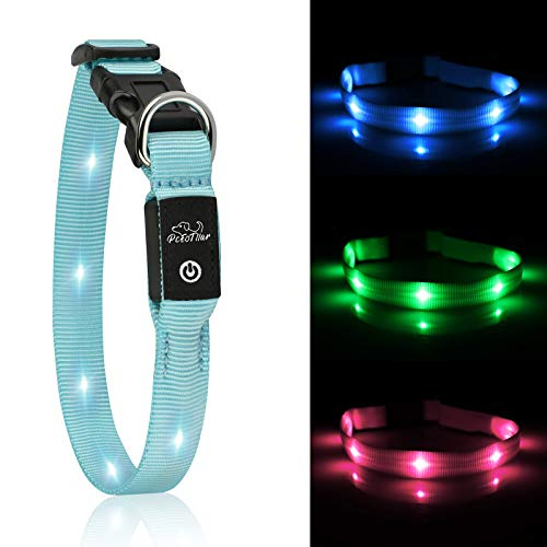 PcEoTllar LED Hundhalsband Leuchthalsband Klein Hund Leicht USB Wiederaufladbar Einstellbar Super Hell für die Nacht - Blau - XS