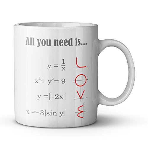 Smart Design Math Style LOVE Pattern All you need is LOVE Ceramic Coffee White Mug (11 Ounce) Tea Cup - Best Gift For Birthday,Christmas And New Year
