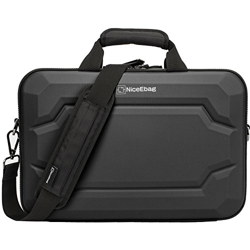 NiceEbag Rugged Armor Laptop Briefcase Messenger Bag with Rainproof Resilient Shock Absorption and EVA Design for MacBook/Dell/Lenovo/Men Women with Shoulder Strap (17.3 Inches, Black)
