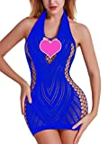FasiCat Women Fishnet Babydoll Lingerie Chemise Halter Nightwear Mini Teddy Dress Blue from