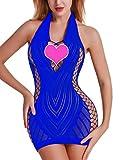 FasiCat Women Fishnet Babydoll Lingerie Chemise Halter Nightwear Mini Teddy Dress Blue from