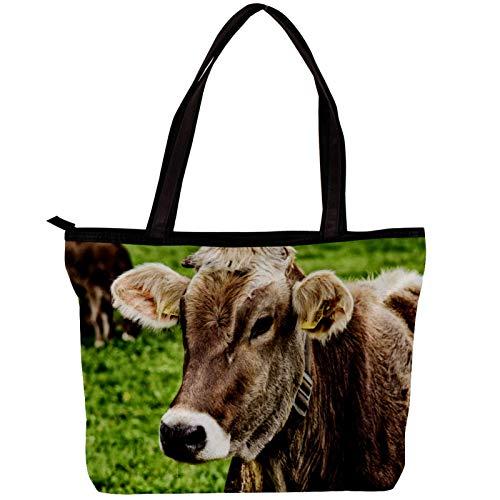 Bolso de hombro grande de lona Vaca animal Bolso de mano Bolsos de moda Bolso de trabajo Regalo para esposa Mamá Niñas 30x10.5x39cm