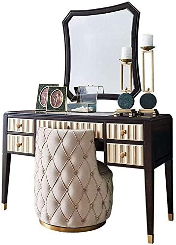 CHLDDHC Juego de tocador de mesa de maquillaje, mesa de maquillaje con taburete de espejo irregular, tocador de madera de dormitorio con 5 cajones, armario de maquillaje de gama alta