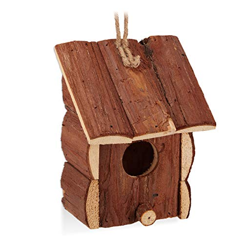 Relaxdays Mini Vogelhaus, Deko zum Aufhängen, unbehandeltes Holz, Balkon, Garten, Vogelhäuschen HBT 16,5x12x9,5cm, Natur