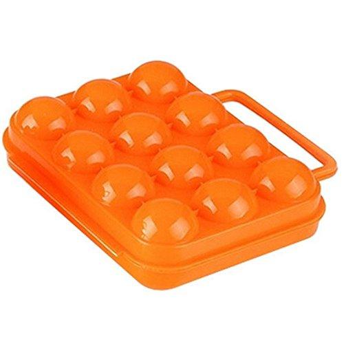 Leisial™ 1pcs Portable Boîte aux Oeuf Porte-Oeufs 12 Réseaux Boîte à Œufs 12 Trous Boîte Pique-Nique Canard Oeufs à Oeufs Titulaire Conteneur étanche aux Chocs(Orange)