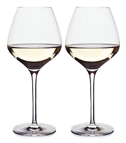 The One Wine Glass - Perfectly Designed Shaped Wine Glasses For All White Wines By Master Sommelier Andrea Robinson, Premium Set Of 2 Lead Free Crystal Glasses, Break Resistant White Wine Glasses