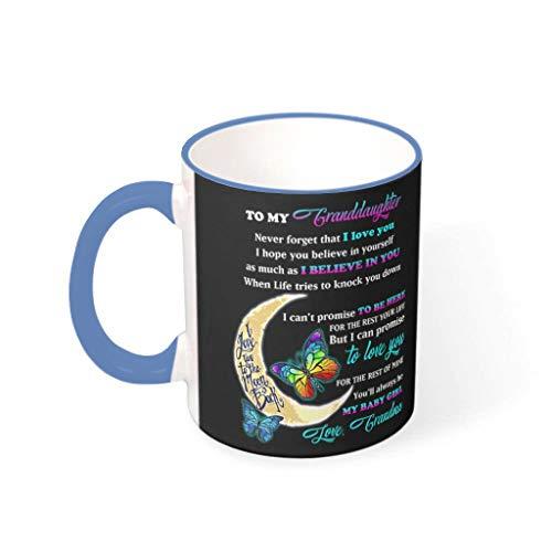 DAMKELLY Store Taza de té para mi nieta con diseño de mariposa, con asa, de cerámica lisa, regalo para niñas, acero azul, 330 ml
