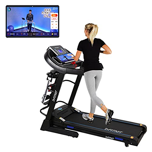 Fitkit FT063 (3HP Peak) DC-Motorised Treadmill ( Max Speed:14km/hr, Inclination: Auto) With Free Home Installation and Connected...