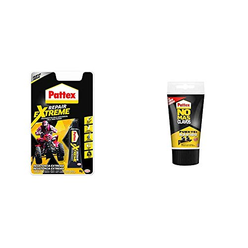 Pattex Repair Extreme, pegamento con resistencia extrema, 1x8 g & Pattex No Más Clavos Original, adhesivo de montaje resistente, 1 tubo x 150 g