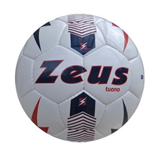 Zeus Pallone da Calcio Tuono Ball Calcetto Sport Pegashop Taglia 5 (BIANCO-BLU-ROSSO, 5)