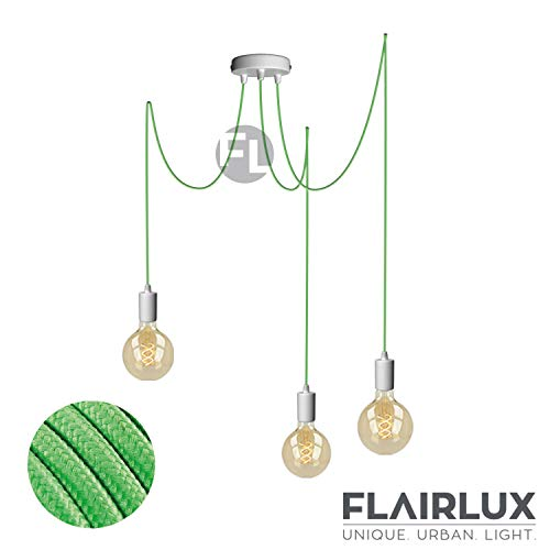 Pendelleuchte 3 flammig weiß matall E27 mit Textilkabel DIY höhenverstellbare Deckenleuchte im Vintage design Hängelampe Wohnzimmerlampe Deckenbeleuchtung Hängeleuchte (Kiwi Grün, 3x3 Meter)