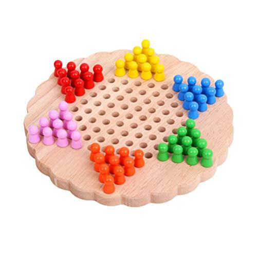 NUOBESTY Holz Chinesische Kontrolleure Chinesische Entwürfe Holz Sechseck Brettspiel Spielzeug Chinesische Dame für Studenten Kinder Kinder