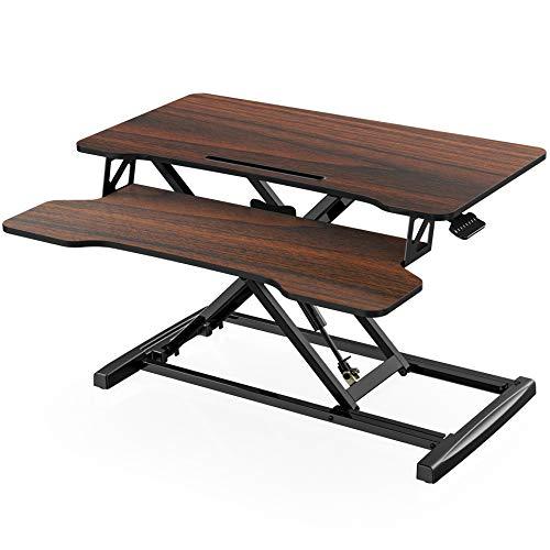FITUEYES Standing Desk Converter Medio 32''/80cm Marrone Scrivania regolabile in altezza con ripiano per tastiera Scrivania in piedi SD308002WE