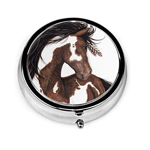 Hermoso caballo africano marrón Vintage novedad caja de pastillas redonda bolsillo medicina tableta soporte organizador estuche para monedero regalo único