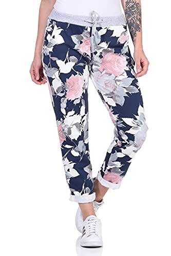 ZARMEXX Damen Sweatpants Baggy Boyfriend Sommerhose Sport All-Over Print One Size Muster 7 One Size (36-40)
