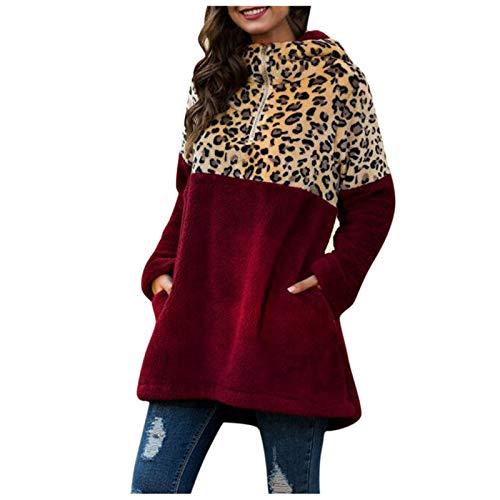 SRXH Sudadera para Mujer, pulóver de Leopardo con Cuello Vuelto, Tops Sueltos Informales de Manga Larga, Otoño Invierno, Sudadera con Capucha de Gran tamaño