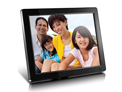 """Aluratek (ADMPF512F) 12"""" Hi-Res Digital Photo Frame with 4GB Built-in Memory and Remote (800 x 600 Resolution), Photo/Music/Video Support, Wall Mountable,Black"""
