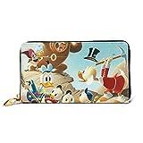 Cartera de piel auténtica con diseño de Mickey Minnie Donald Duck para hombre y mujer