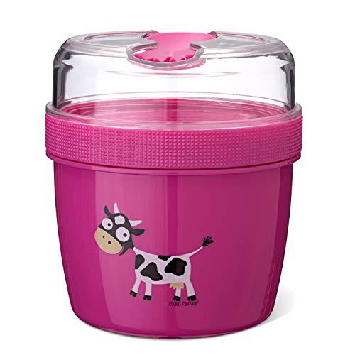 Pequeña Caja de Dos Piezas Bento Box La Caja de Dos Piezas con Bolsa de Hielo Mantiene Varias Horas fría, Incl. Cubiertos, en Rosa Ø 11,7 x 12,9 cm, 0,6 L + 0,3 L
