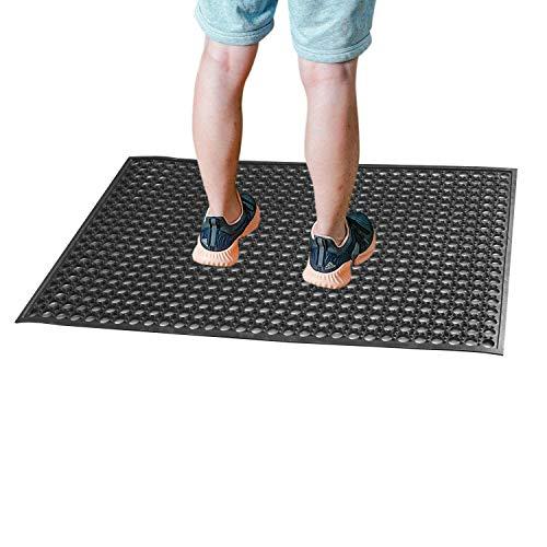 """Rubber Floor Mats for Kitchen Anti-Fatigue Mat Restaurant Bar Floor Mat New Door Mat Bath Mat Commercial Heavy Duty Drainage Mat for Garage Garden Use Black 36"""" x 60"""" from SallyMall"""