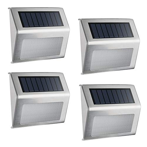 ELELINK LED Solar Light, 4 Pack Outdoor Stainless Steel LED Solar Step Light; Illuminates Wall,Stairs, Deck, Patio, Etc (4 Pack)