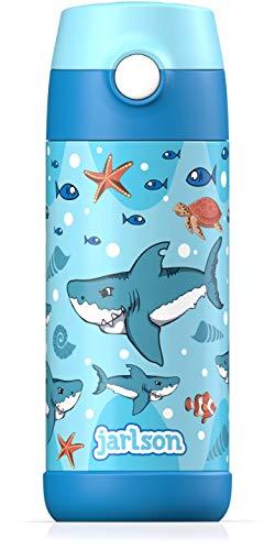 JARLSON® Trinkflasche Kinder / Baby - Thermo Edelstahl Wasserflasche 350ml - BPA frei - auslaufsicher - Kinderflasche mit Strohhalm - Flasche für Schule, Kindergarten (Haie)