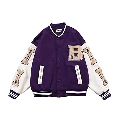 joyvio Kurtka Varsity Męskie kurtki baseballowe Kolarstwo Bieganie Wyprzedaż Lato Smart Casual (Color : Purple, Size : X-Large)