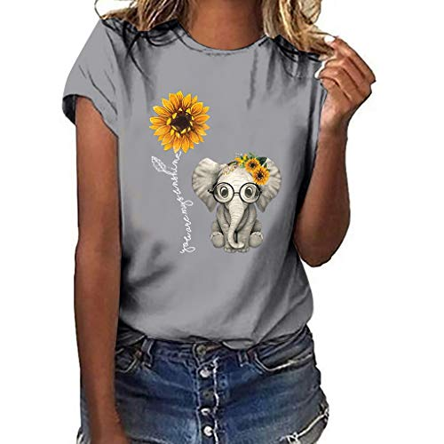 Dasongff Damen Mädchen Sommer Lose Tops Kurzarm Ärmellose T-Shirt Tanktops Weste Sunflower Druck Cami Tank Tops Bluse Rundhals Tee Leicht Sonnenblume Oberteile Tops Teenager Shirts