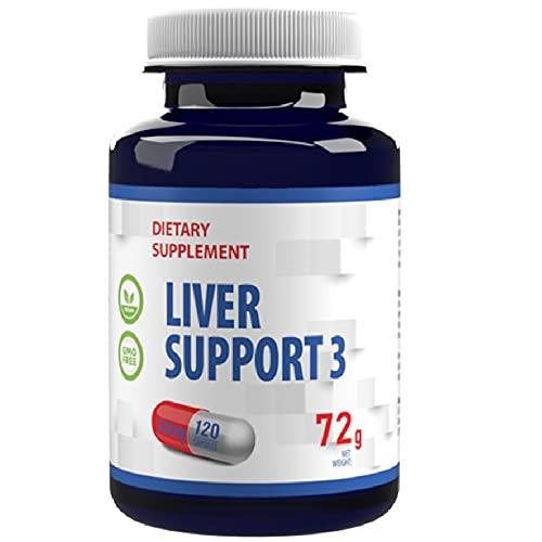 Apoyo al hígado 3 - Cardo mariano 80% silimarina, alcachofa, extracto de diente de león 500mg 120 Cápsulas Veganas, Alta Potencia, Sin Gluten, Sin OGM