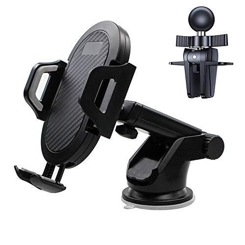Soporte para teléfono de Coche, 3 en 1, Aishtec Soporte 360° Rotación para teléfono, Soporte de teléfono para salpicadero, Rejilla de ventilación - Compatible con Todos los Smartphones