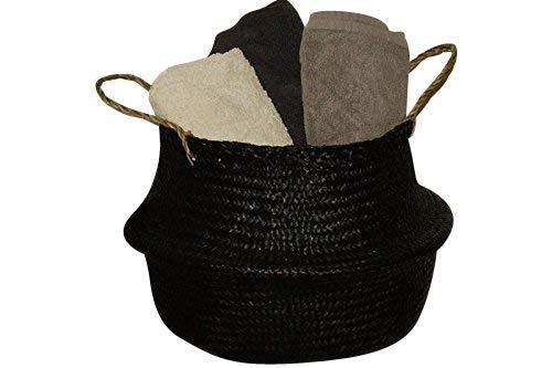 Seegras-Korb Flecht-Korb Einkaufs-Korb Einkaufs-Tasche Aufbewahrung, Farbe:schwarz