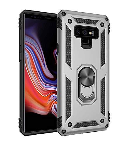 JMstore Funda Compatible con Samsung Galaxy Note 9 Anillo Soporte[Funciona con El Montaje Coche Magnético]+Protectores Pantalla(Plata)