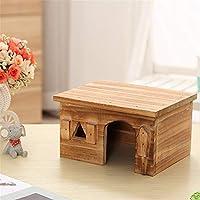 ハムスターハウス 木製のハムスターハウスケージラットハウスのペットのためのハムスターチンチラモルモット ハムスターの木造住宅 (色 : Picture color, Size : 19.5x14.5x11cm)