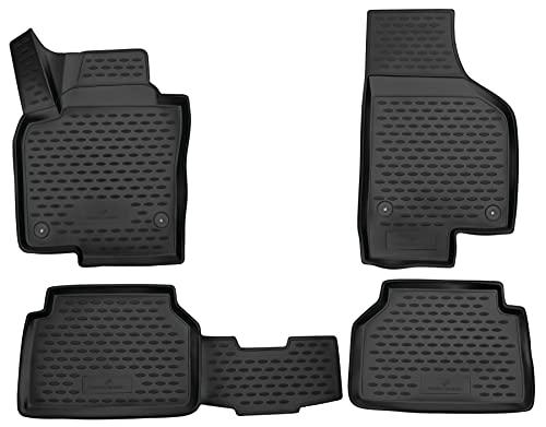 Walser XTR Gummifußmatten kompatibel mit VW Tiguan I (5N) 2007-2018, passgenaue Auto Gummimatten, Autofußmatten Gummi
