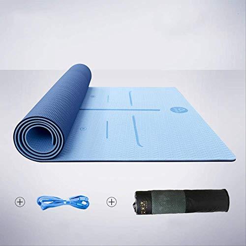LQH yogamat, yogamat, voor vrouwen, antislip, verdikkend, uitbreidbaar, metaphorische curry-fitnessmat, thuis, 183 cm x 66 cm x 8 mm, positielijn: blauw en nettas