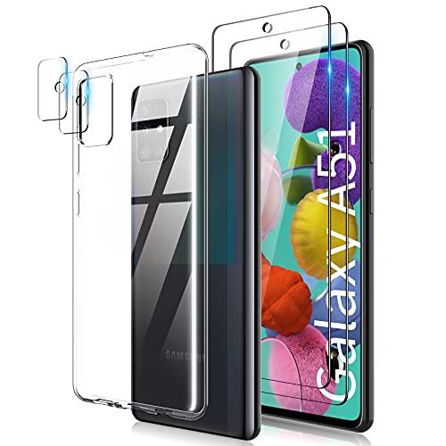 TOCOL [3 In 1 Hülle Kompatibel mit Samsung Galaxy A51 4G TPU Hülle Silikon Kein Vergilben, Handyhülle transparente, 2 Stück Panzergläs2 Stück Kamera Panzergläs, Schutzhülle Samsung A51, Cover