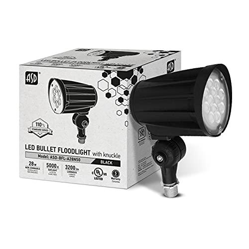 ASD 28W LED Bullet Flood Light 3200lm 5000K Daylight - Replaces 50W MH - IP65 100-277V LED Outdoor Commercial Landscape Light - Exterior LED Flood Light - LED Tree Spotlight, UL Listed, Black