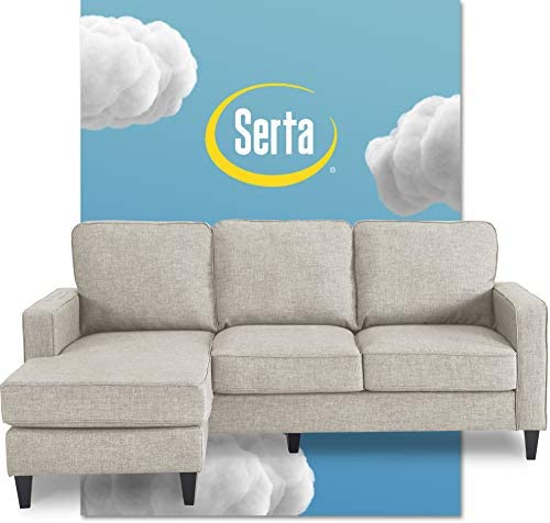 Best Serta Harmon Reversible Sectional Sofa Living Room, Modern L-Shaped 3 Seat Fabric Couch, Square Arm,