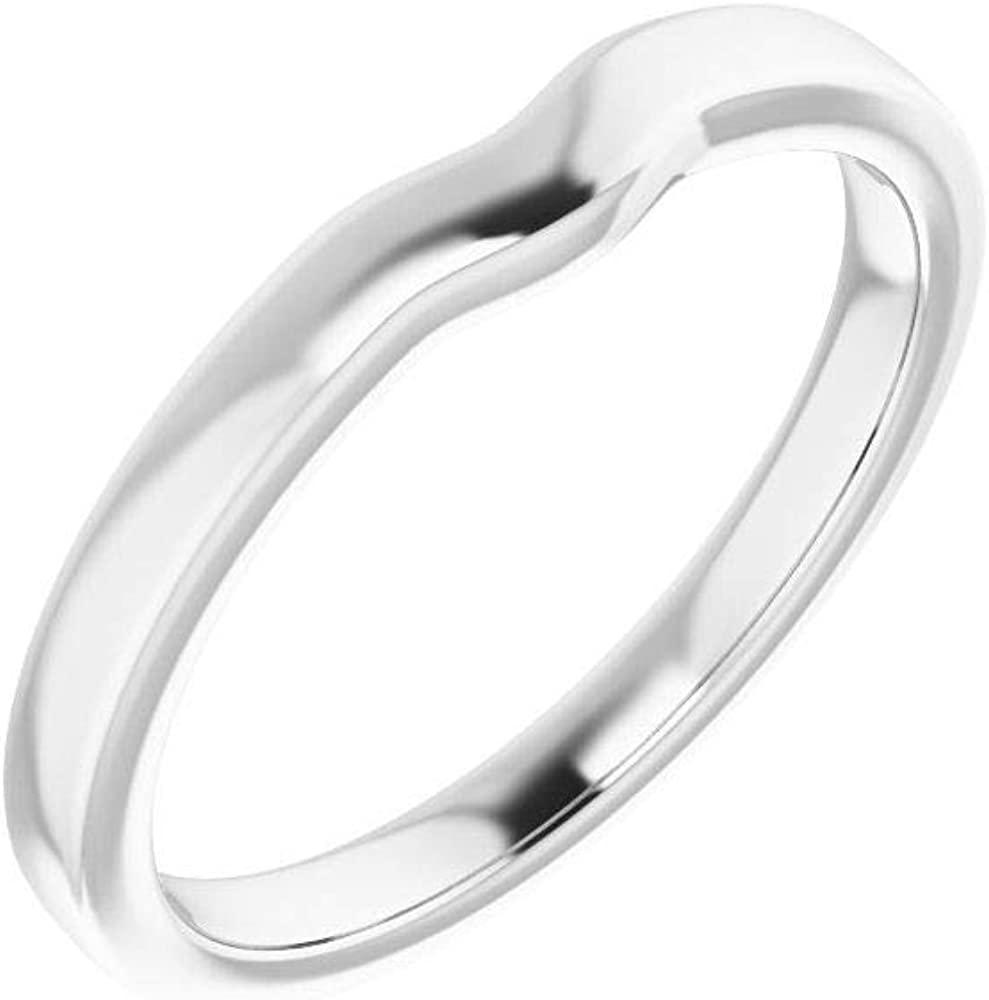 Solid 10K White Gold Curved Notched Wedding Band for 9 x 7mm Oval Ring Guard Enhancer - Size 7