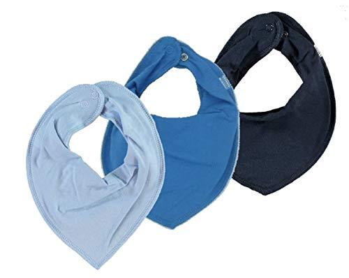 NAME IT 3er Set UNI ~ verschiedene ~ Baby Dreieckstücher Halstuch Lätzchen 3 Stück (hellblau-mittelblau-dunkelblau)