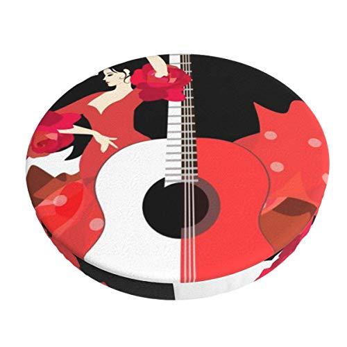 AEMAPE 13 Pulgadas Hermosa Chica española Guitarra Taburete de Bar Fundas cojín Redondo Silla Funda Lavable para Hotel en casa