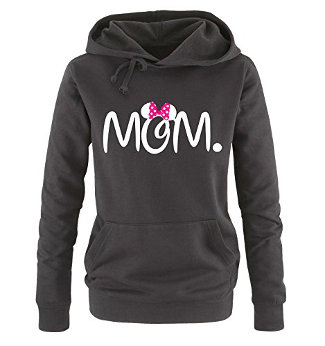 Comedy Shirts - MOM. Minnie - Damen Hoodie - Schwarz/Weiss-Pink Gr. L